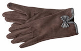 Women's Self Lined Faux Suede Gloves with Touch Screen Technology - L4737