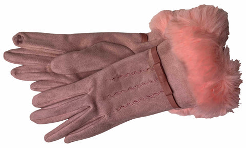Women's Self Lined Fashion Fleece and Faux Fur Gloves with Touch Screen Technology - L4743