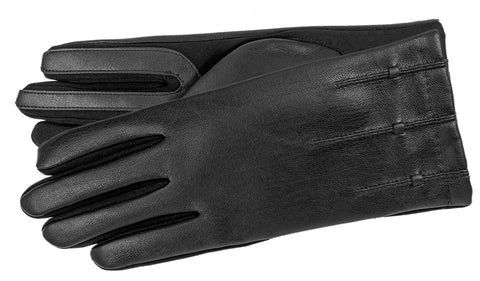 Women's Faux Leather and Stretch Material Gloves with Brushed Polyester Lining and Touch Screen Technology - L4795