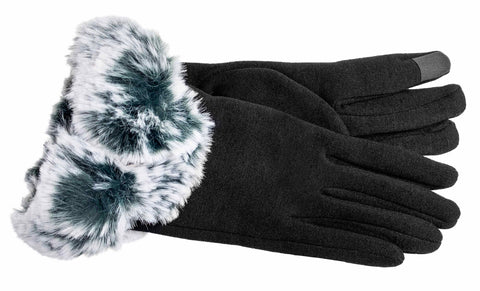 Women's Self Lined Fashion Fleece and Faux Fur Gloves with Touch Technology - L4799