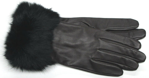 Women's Glacé leather Glove with Poly Tricot Lining & Genuine Fur Cuff