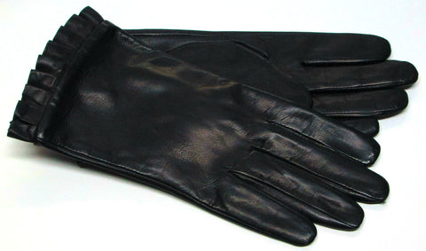 Women's black leather gloves with ruffled cuff