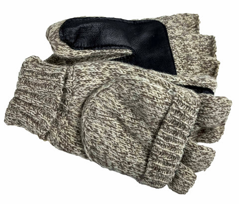Women's Raggwool Flip Top Mittens with Goatskin Palm, Poly Tricot Lining and ThinsulateTM Insulation - L6767