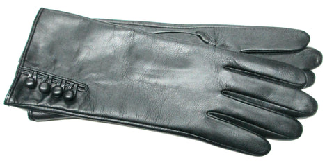 Women's Black Leather Gloves with Buttons