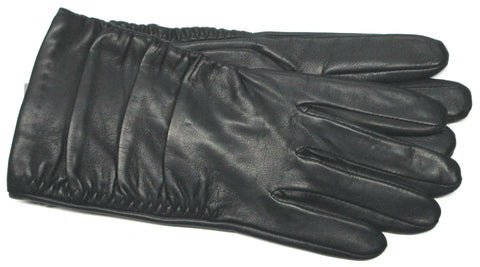 Women's ruffled cuff leather gloves