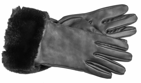 Women's Faux Leather Gloves with Poly Tricot Lining - L8027