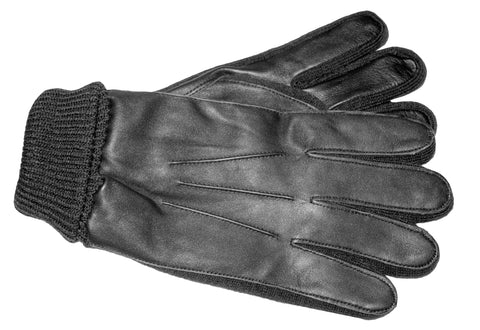 Men's Glace Leather and Knit Glove with Brushed Polyester Lining and ThinsulateTM Lining - M7404