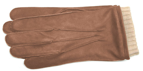 Men's Brown leather gloves with fleece lining
