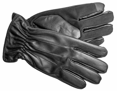 Men's Glace Leather and Faux Suede Gloves with Thinsulate Insulation, Brushed Polyester Lining and Touch Screen Technology - M7580