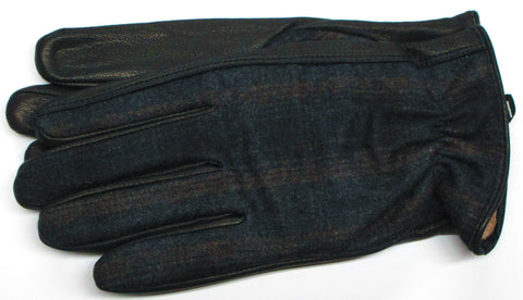 Men's Plaid Wool and Deerskin Gloves with lambswool lining