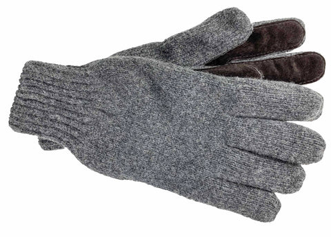 Men's Raggwool Gloves with Fleece Lining and Full Suede Palm - M7681