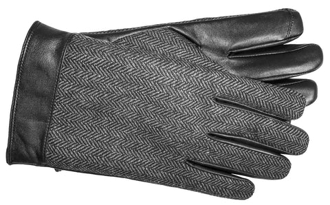 Men's Glace Leather and Tweed Fabric Gloves with Micropile Lining and Touch Screen Technology - M7740