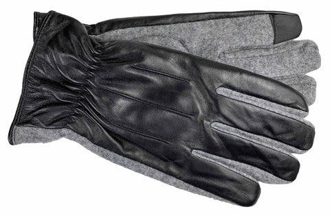 Men's Glace Leather and Wool Blend Gloves with Brushed Polyester Lining and Touch Screen Technology - M7763