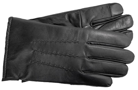 Men's Glace Leather Gloves with Brushed Polyester Lining - M7801