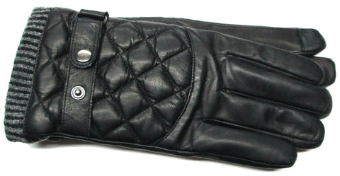 Men's Glace Leather Gloves with Melange Fleece Lining and Touch Technology - M7809