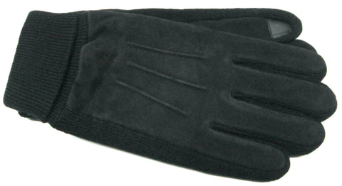 Men's Pig Suede and Knit Gloves with ThinsulateTM Insulation, Poly Tricot Lining and Touch Technology - M7834
