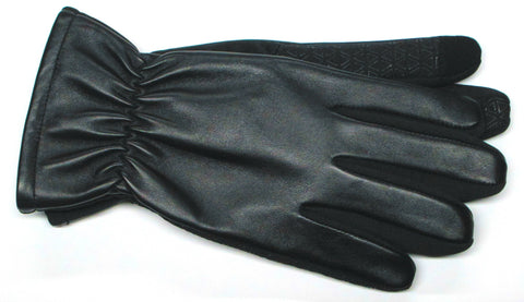 Men's Glace Leather and Softshell Gloves with Poly Tricot Lining and Touch Technology - M7863