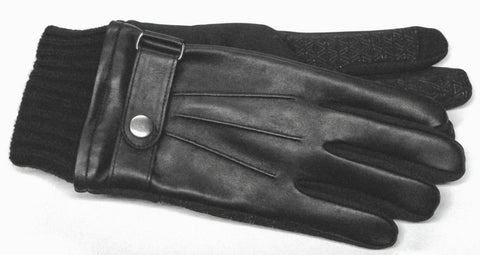 Men's Glace Leather and Softshell Gloves with Poly Tricot Lining and Touch Technology - M7864