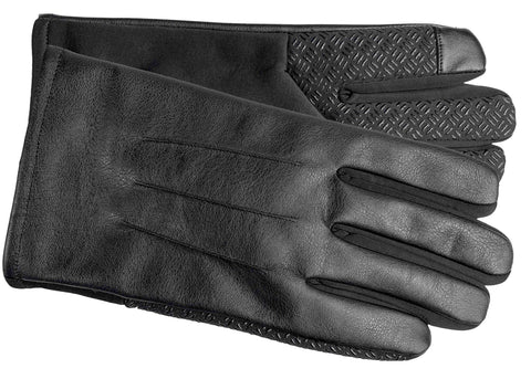 Men's Faux Leather and Softshell Gloves with Polyester Lining and Touch Technology - M9061