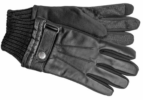 Men's Faux Leather and Softshell Gloves with Polyester Lining and Touch Technology - M9062