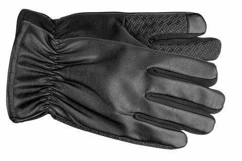 Men's Faux Leather and Softshell Gloves with Polyester Lining and Touch Technology - M9063