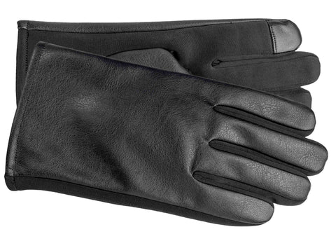 Men's Faux Leather and Softshell Gloves with Polyester Lining and Touch Technology - M9064