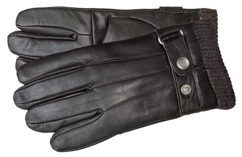 Men's Glace Leather Gloves with Brushed Polyester Lining - M9098