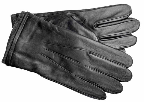 Men's Glace Leather Gloves with Brushed Polyester Lining - M9102