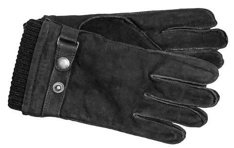 Men's Nubuck Leather Gloves with Brushed Polyester Lining - M9111
