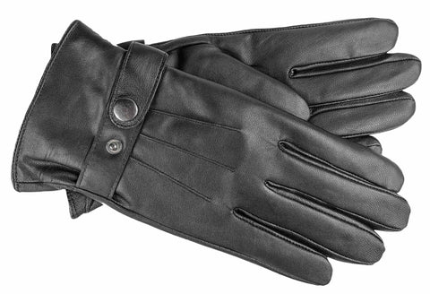 Men's Glace Leather Gloves with Brushed Polyester Lining - M9117