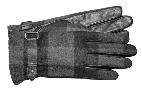 Women's Glace Leather Palm Gloves and Plaid Fabric Back with Touch Fingers