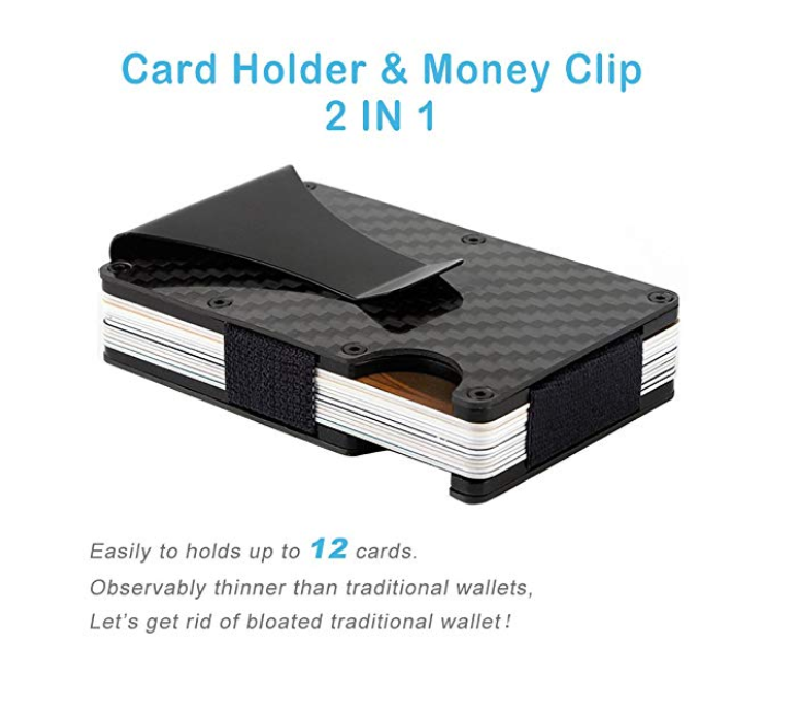 Carbon Fiber Slim Credit Card Wallet Clip
