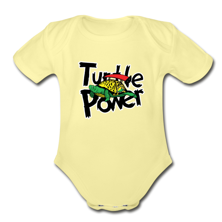 Turtle Power Onesie - washed yellow