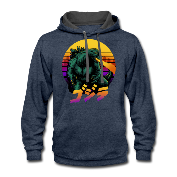 Retrowave Gojira Hoodie - indigo heather/asphalt
