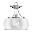 Load image into Gallery viewer, 1-Light Clear Glass Semi Flush Mount Light, Brushed Nickel Ceiling Light, E26 Base, UL Listed for Damp Location, 3 Years Warranty