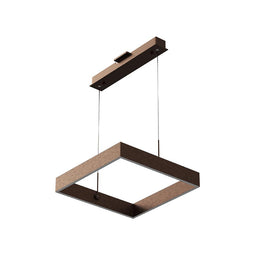 1-Light - Square Chandelier Lighting in Brushed Brown Body Finish - 70W - 3000K(warm white) - 5200LM - Dimmable - 3 Years Warranty