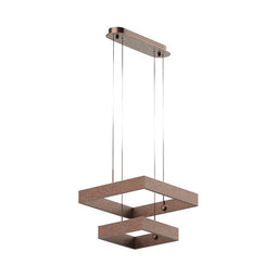 2-Lights, Square Chandelier Modern in Brushed Brown Body Finish, 141W, 3000K, 8800lumens, Oxidation Finish Technique, Dimmable