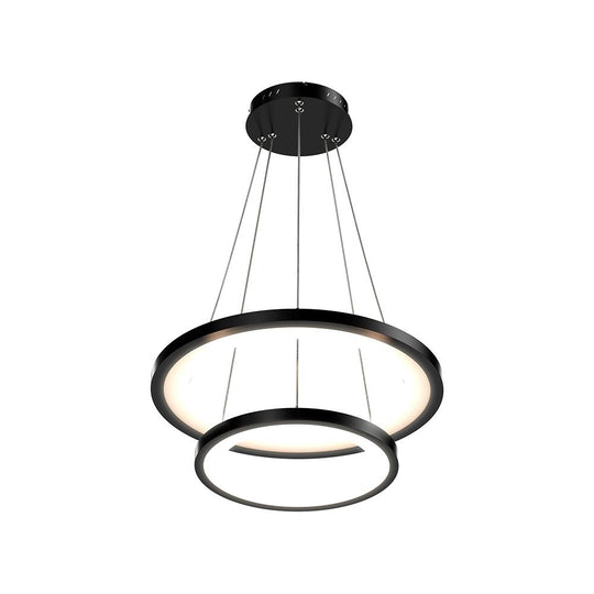 2-Ring LED Chandelier - 61W - 3000K-6500K - 2241LM - Dimmable - Matte black Body Finish - Diameter 34.9''×0.4''×71''
