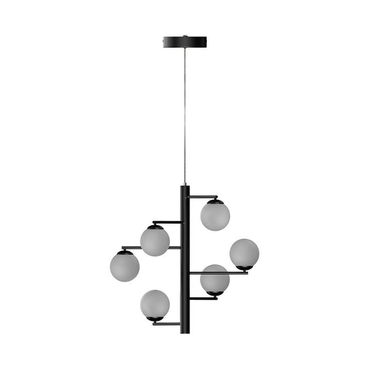 6-Lights, Chandelier, 47W, 3000K, Matte Black Body Finish, Dimmable