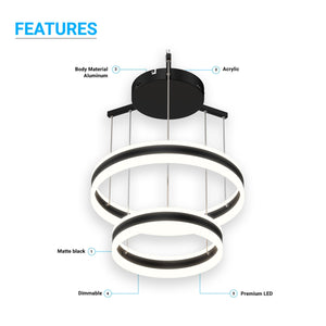 2-Ring,112W, 3000K-6500K, 5600LM, Unique LED Circular Chandelier, Dimmable, Sand Black Body Finish