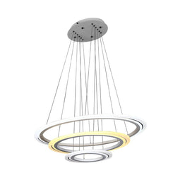 3-Ring, Pendant Lighting - Modern Pendant Lights, 98W, 3000K-6500K, 3928LM, Aluminum Body Finish, Dimmable