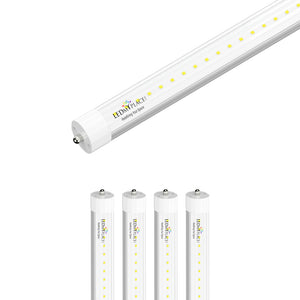8ft LED Tube 48W 5800 Lumens Single Pin 5000k Clear