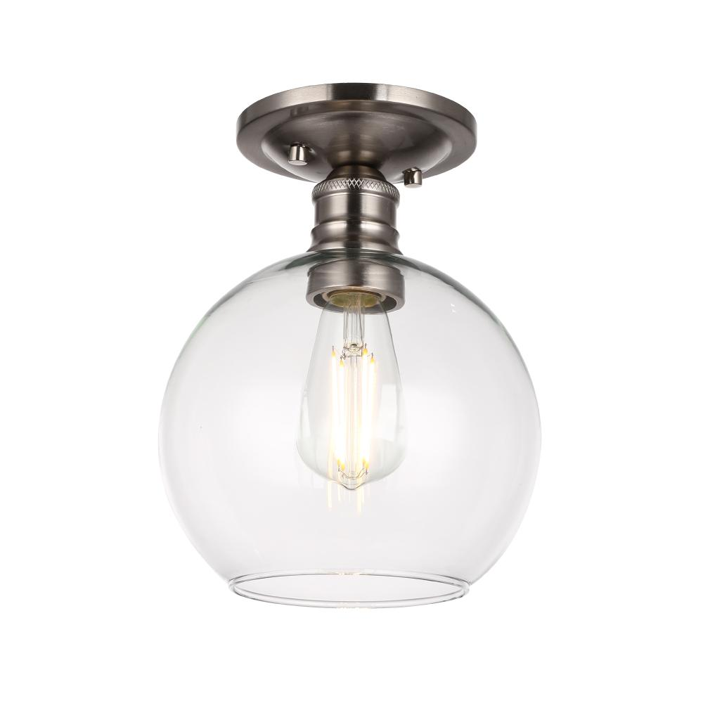 Clear Glass Dome Shape Flush Mount Light, Brushed Nickel Finish, E26 Base, Ceiling Mounting, UL Listed for Damp Location