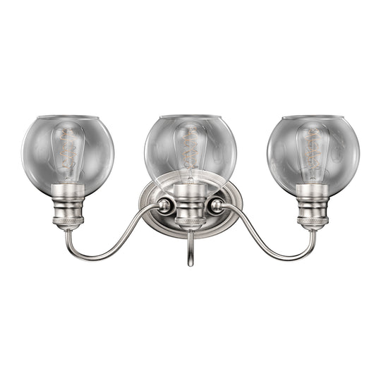 Clear Glass Bathroom Vanity Lights, E26 Base Brushed Nickel Finish Wall Mounting, UL Listed for Damp Location, 3 Years Warranty