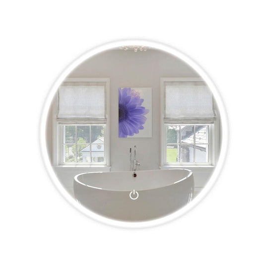 22 Inch LED Lighted Bathroom Round Mirror,  CCT Changeable With Remembrance, Defogger On/Off Touch Switch