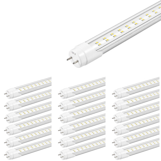 T8 4ft 22W LED Tube, 2-Row LED Tube, 6500K Clear Dual Ended Power Fixtures