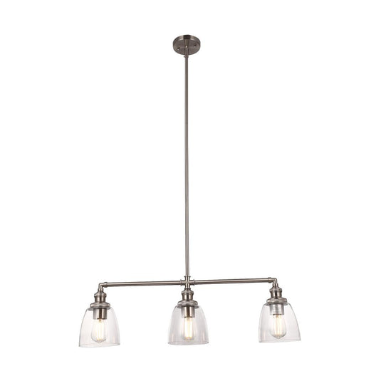 3-Lights Bell Shape Kitchen Island Pendant Lighting, Clear Glass Shade, E26 Base, UL Listed