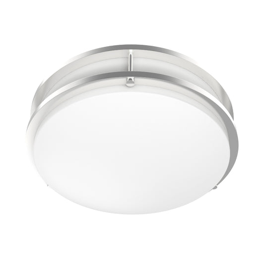 LED Double Ring 12in. Flush Mount - 14 Watt - Dimmable - 3000K - 1100 Lumens Brushed Nickel