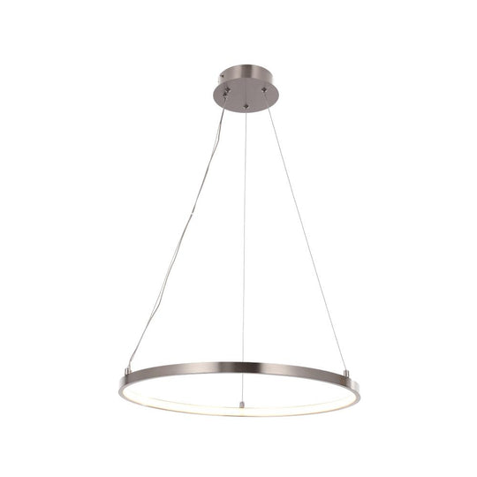 35W LED Ring Pendant Lighting - Modern Ring Pendants 3000K (Warm White), 2000 Lumens, Brushed Nickel Finish and White Acrylic Shade, ETL Listed