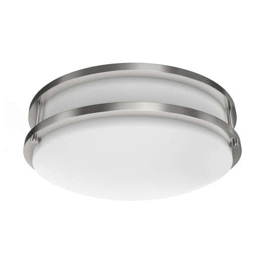 LED Double Ring 12in. Flush Mount - 14 Watt - Dimmable - 4000K - 1100 Lumens Brushed Nickel